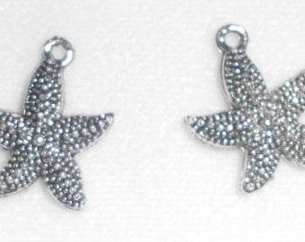 Silver Starfish  Charms