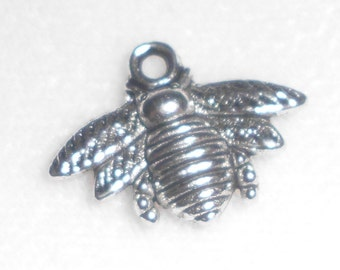 Silver Bee Charms