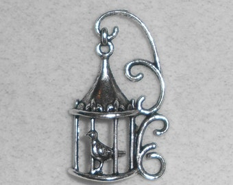 Silver Bird in a Cage Pendant