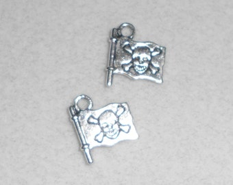 Silver Pirate Flag Charms