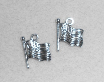 Silver Patriotic 4th of July Flag Charms