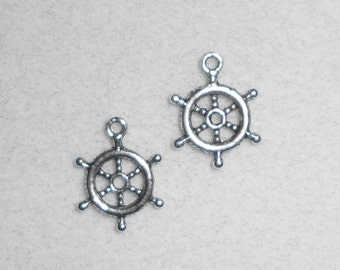 Silver Nautical Ships Wheel Charms