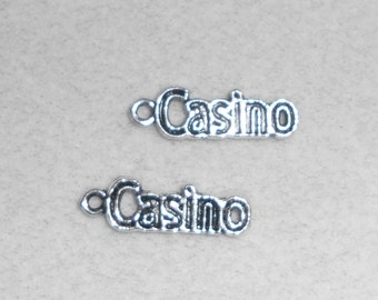"""Silver """"Casino"""" saying Charms"""