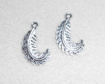 Silver Leaf Fern Charms