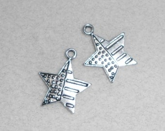 Silver Patriotic  4th of July Star Charms