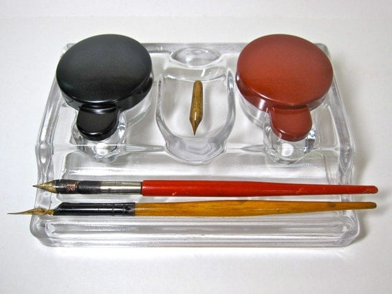 GLASS INKWELL with BAKELITE Lids plus Two Dip Pens and Nibs