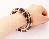 bead crochet rope bracelet. Purple gold bold bracelet. Beaded multicolor jewelry. Hand crocheted