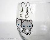 Cute Grey and White Kitty- Acrylic Charm Earrings