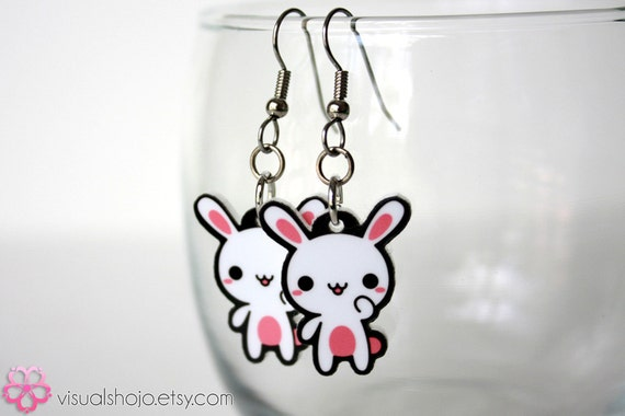 Cute Pink and White Bunny - Acrylic Charm Earrings