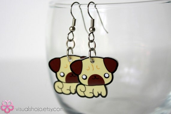 Cute Little Pug- Acrylic Charm Earrings