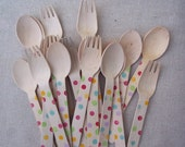 20   Polka Dot Wooden Spoons & Forks      Party Cutlery