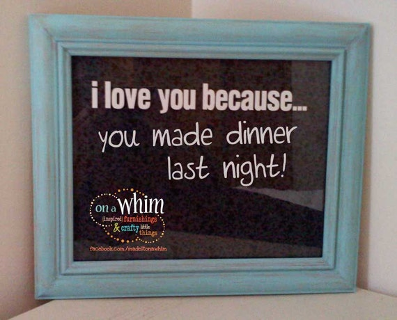 I Love You Because... Dry Erase Board with Fabric Background