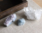 amethyst, crystal and blue calcite stone set in a handmade wood curio drawer