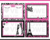 Printable Blank Labels - Diva - Zebra Print and Hot Pink - PDF High Quality - Personal and Commercial Use - Print Your Own