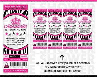 Diva Birthday Invitation Ticket Style - Zebra Print Hot Pink - Printable - Digital - Print Your Own