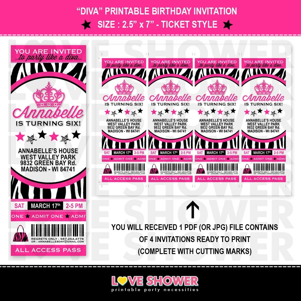 Diva Birthday Invitation Ticket Style Zebra Print Hot Pink – Printable Ticket Invitations