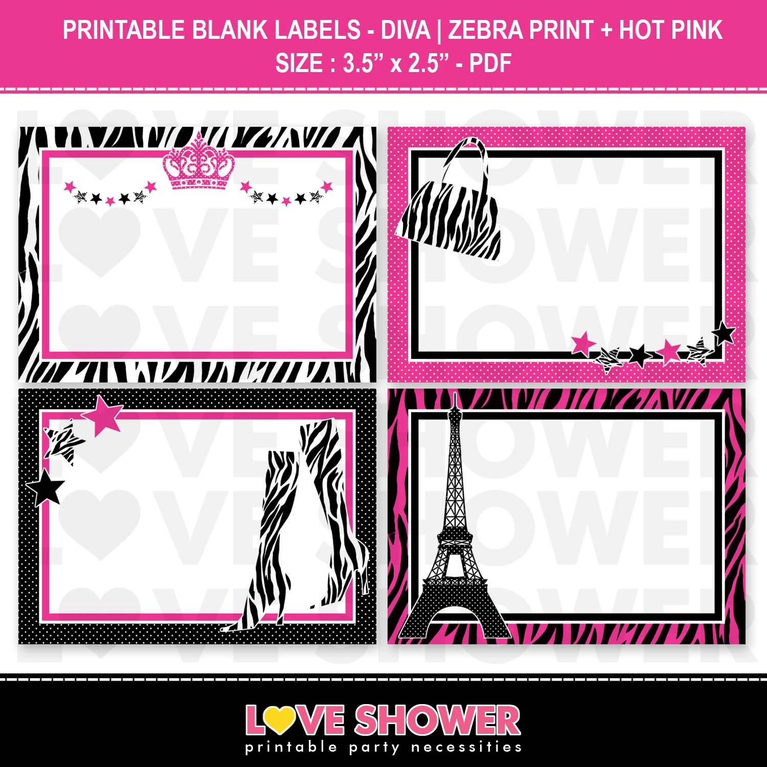 Printable Blank Labels Diva Zebra Print and Hot by LoveShower