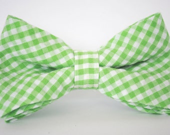 Bow Tie - Newborn, Infant, Toddler, Boy - Green Gingham