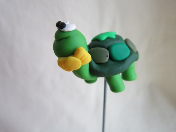 Green Clay Turtle Plant Poke