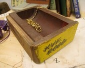 jewelry catchall table piece -reclaimed foundry mold-  carved from hardwood--nice little box