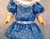 1904 Edwardian Royal Blue Floral Dress made to fit 18 inch dolls
