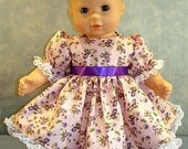 Purple Floral on Pink Dress Baby, made to fit 15 inch baby dolls