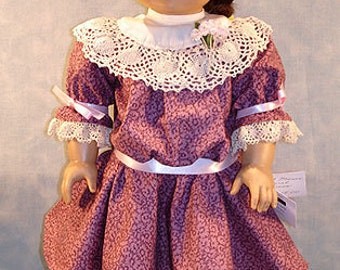 1904 Edwardian Mauve Floral Dress made to fit 18 inch dolls