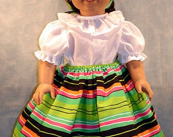 Southwestern Summer Camisa and Skirt made to fit 18 inch dolls