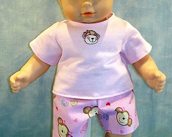 Monkey and Cupcakes Shorts Outfit  made to fit 15 inch baby dolls