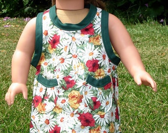 Daisies and Roses Wrap-a-round Apron made to fit 18 inch dolls