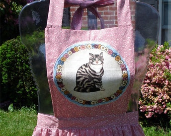 Cat Lover's Bib Apron, Gathered Waist, Pink