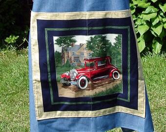 Denim Vintage Cars Bib Apron, Red, Mens