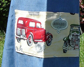 Denim Vintage Cars Bib Apron, Child Size