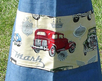 Denim Vintage Cars Bib Apron, Boy/Girl