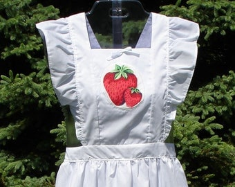 Strawberries on White Ruffled Pinafore Bib Apron, Misses Size