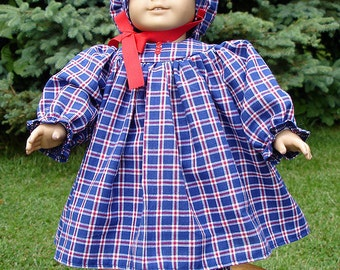 Red and Blue Plaid Prairie Dress made to fit 18 inch dolls