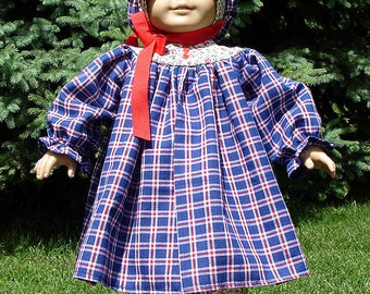 Red, Blue Plaid and Calico Prairie Dress made to fit 18 inch dolls