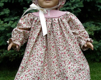Mauve Calico Prairie Dress made to fit 18 inch dolls