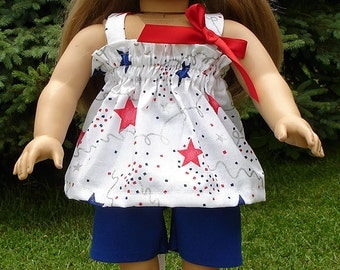 4th of July Shorts Set Blue made to fit 18 inch dolls
