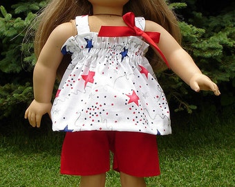 4th of July Shorts Set, Red, made to fit 18 inch dolls