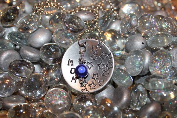 50% OFF SALE MOM and Stars Hand Stamped Necklace w/ Blue Pearl Bead Hand Crafted Jewelry Great Gift for Mothers Day