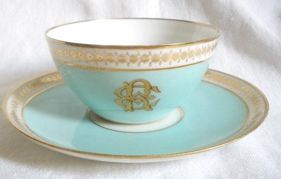 French Vierzon Paris blue set of cup & saucer