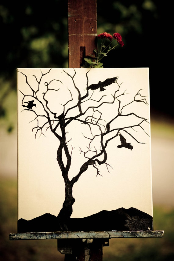 Original Art Tree and Crow Silhouette Painting - Acrylics on Gallery Stretched Canvas