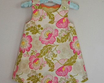SALE LAST ONE 4T only Toddler Dress  Pink and Green Floral by Amy Butler Pale Pink Background Jumper or A-Line Sundress