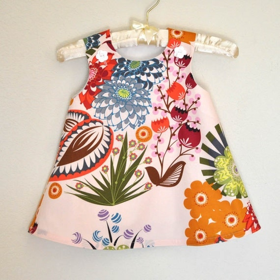 SALE LAST ONE 2T only Toddler Dress Party Dress Lou Lou Thi Summer Totem Pale Pink Background Jumper or A-Line Sundress
