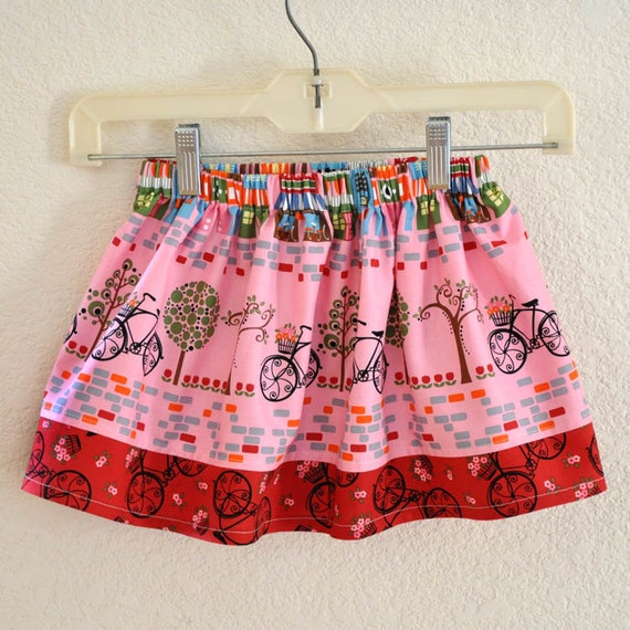 CLEARANCE FINAL SALE 2T only Toddler Skirt Pink and Red Paris  Print with Elastic Waist