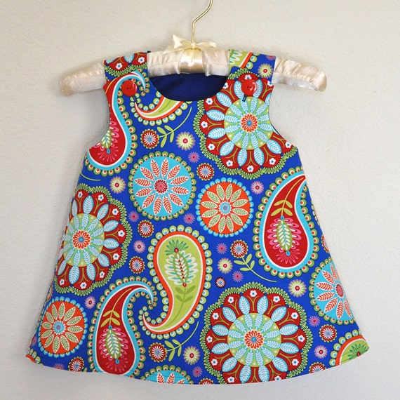 SALE LAST ONE 2T only Toddler Dress Red Green Lime Paisley on Blue Background Jumper or A-Line Sundress