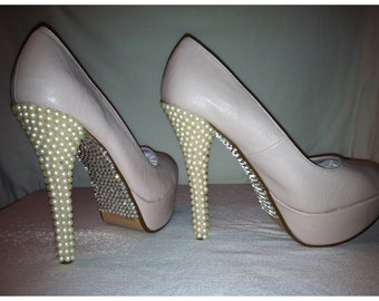 Custom pumps with pearls and Swarovski crystals