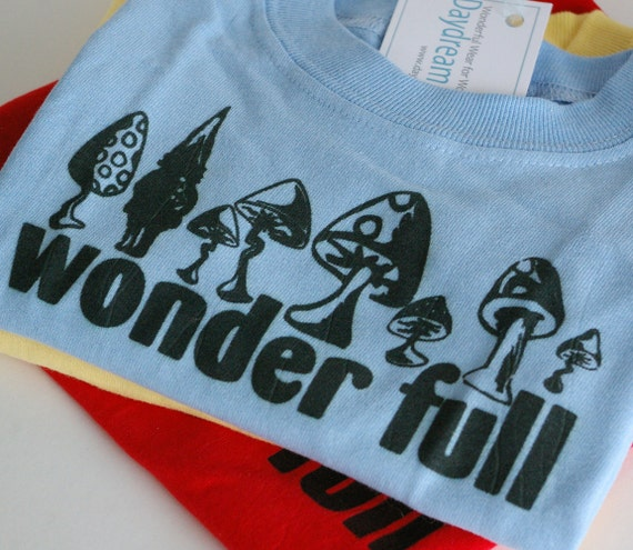 Toadstool and Gnome Baby Onesie : WONDER FULL (Blue, 12M) Sale Pricing