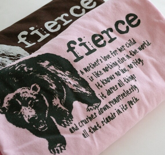 Womens Tshirt : Fierce Mama Bear (Pink, Ladies XL)